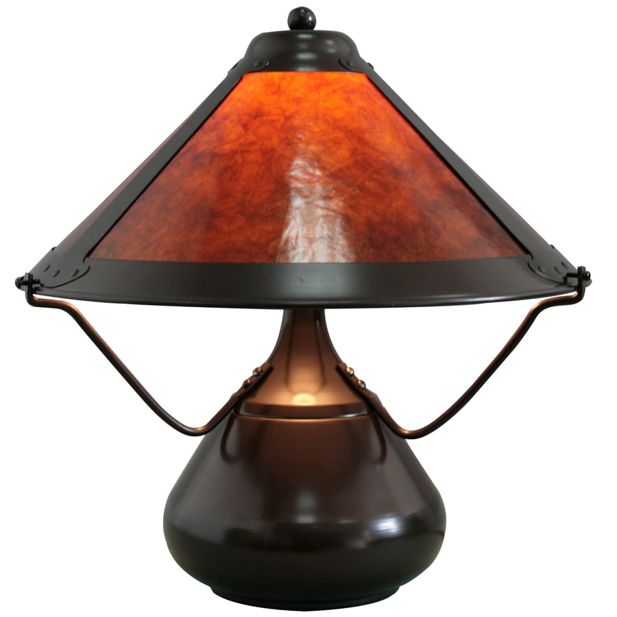 Grandrich 15 1 2 Dark Bronze Table Lamp With Mica Shade At Lowes Com