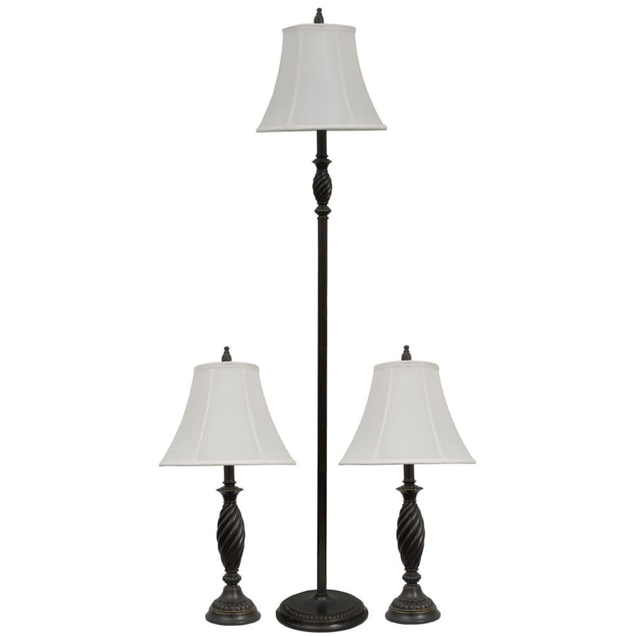 Portfolio 3-Piece Bronze Lamp Set with Fabric Shades