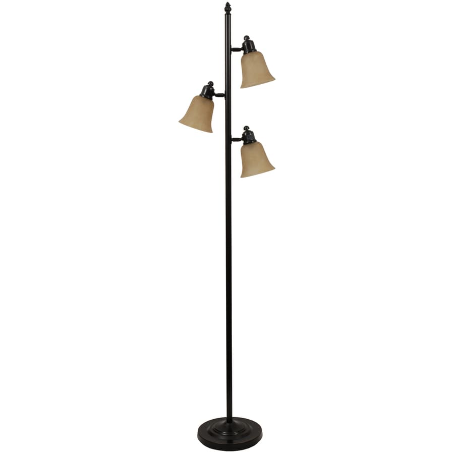 Portfolio 72-in Bronze Indoor Floor Lamp with Glass Shade