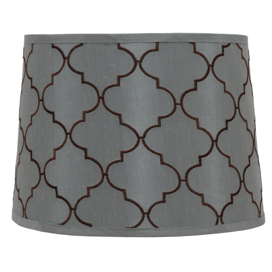 allen + roth 10-in x 14-in Blue Fabric Drum Lamp Shade