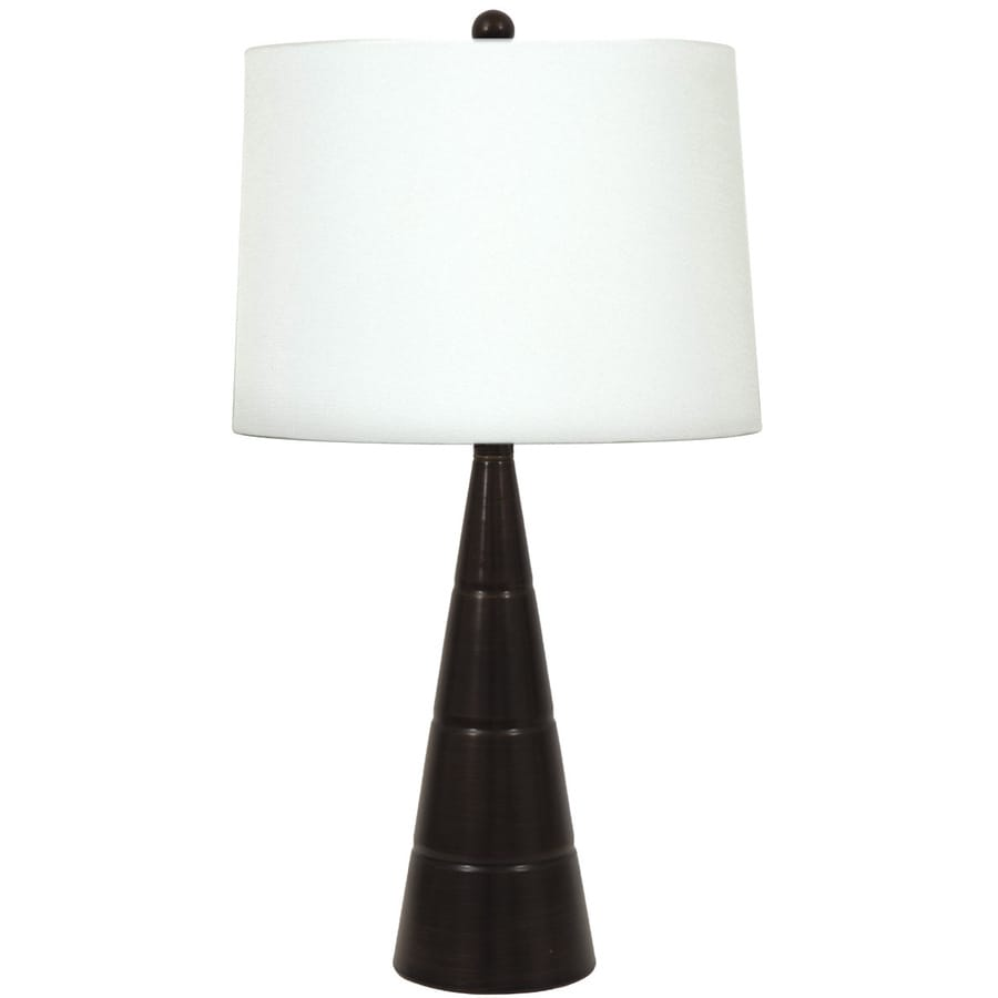 allen + roth 24-in 3-Way Bronze Indoor Table Lamp with Fabric Shade