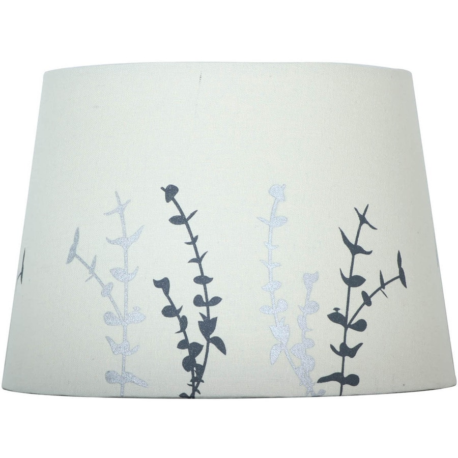 allen + roth 7-in x 10-in Off White with Silver Screen Print Fabric Drum Lamp Shade