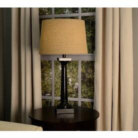 Allen Roth 10 In X 15 In Tan Burlap Fabric Drum Lamp
