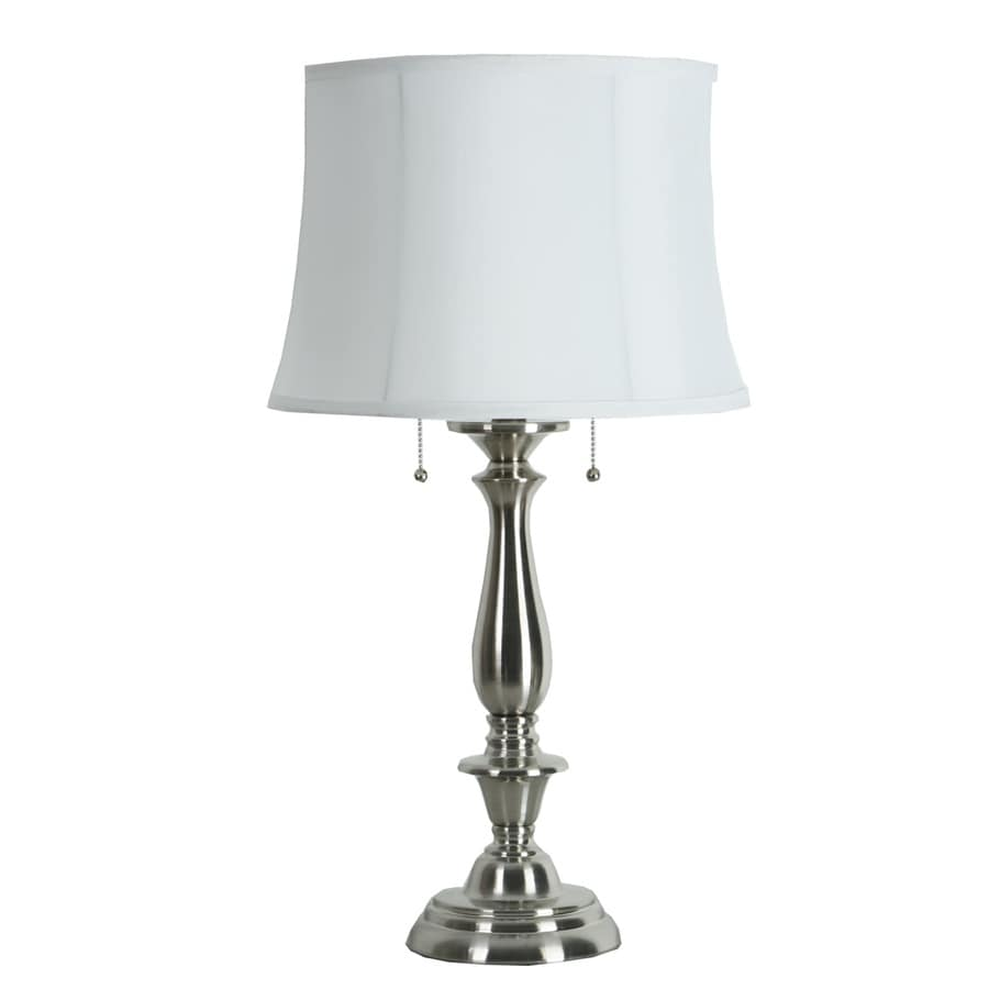 Allen Roth Woodbine 28 In Brushed Nickel Electrical Outlet Table Lamp With Fabric Shade