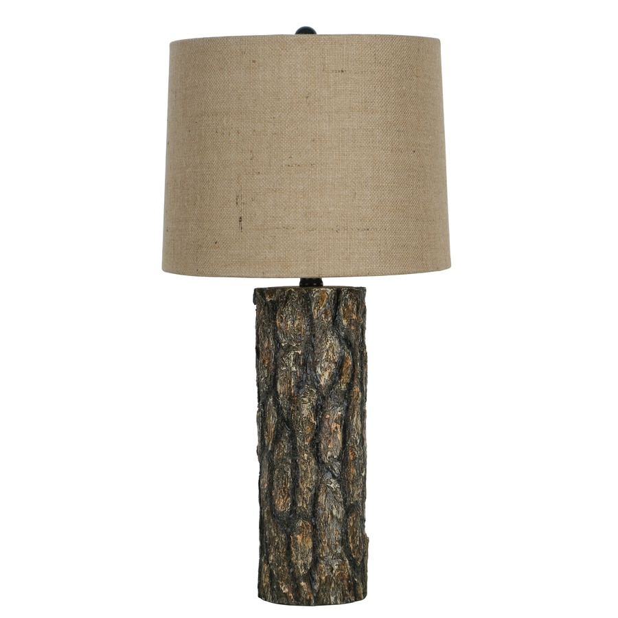 25.25-in Brown Indoor Table Lamp with Fabric Shade