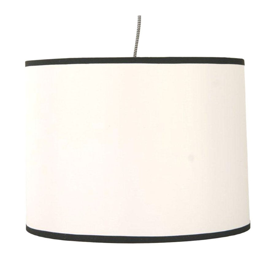 Style Selections 13 5 In W White Plug In Pendant Light With Fabric