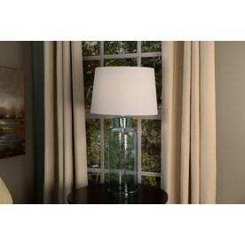 Allen Roth 10 In X 15 In White Linen Fabric Drum Lamp