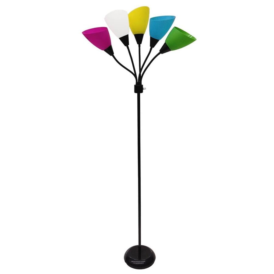 Style Selections 67-in 3-Way Black Multi-Head Indoor Floor Lamp with Plastic Shade