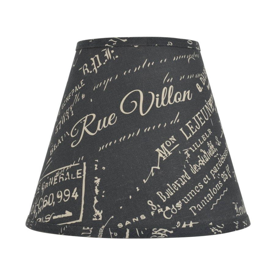 allen + roth 11-in x 13-in Blue with Cream Script Fabric Bell Lamp Shade