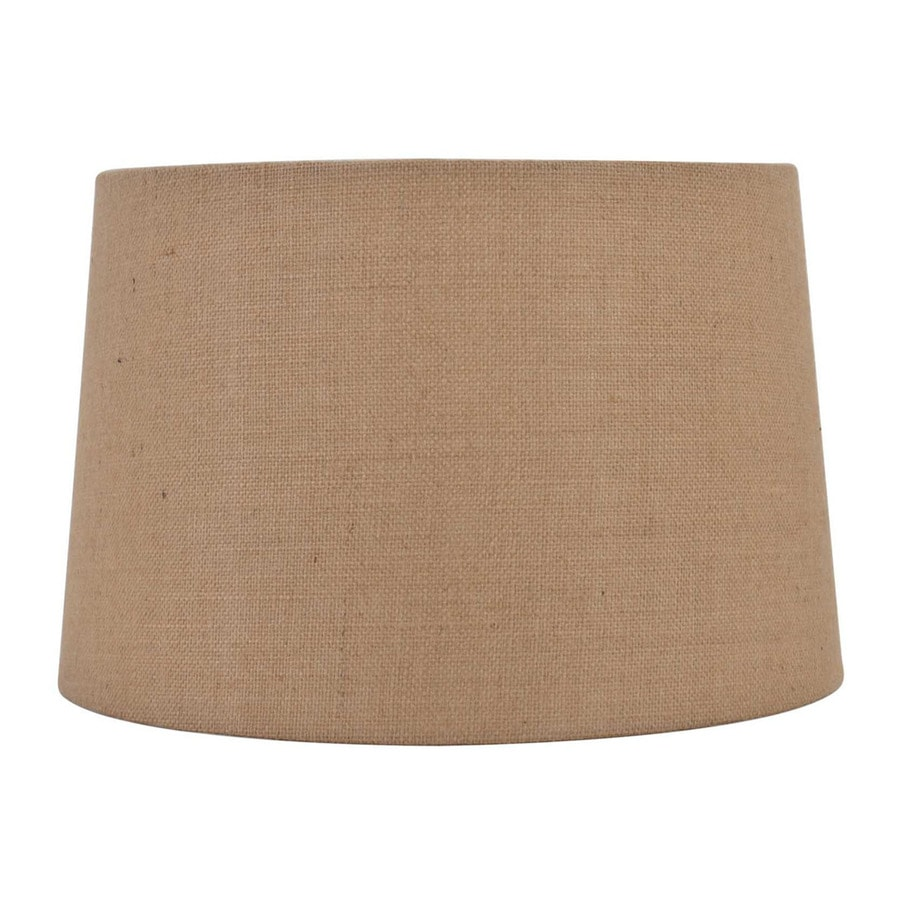 Allen + Roth 11-in X 17-in Tan Burlap Fabric Drum Lamp