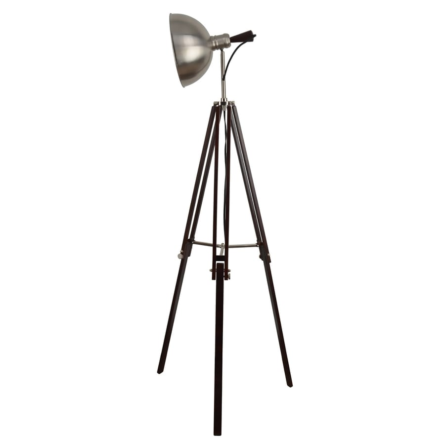 allen + roth Grancove 56-in Espresso and Brushed Nickel Contemporary/Modern Tripod Indoor Floor Lamp with Metal Shade