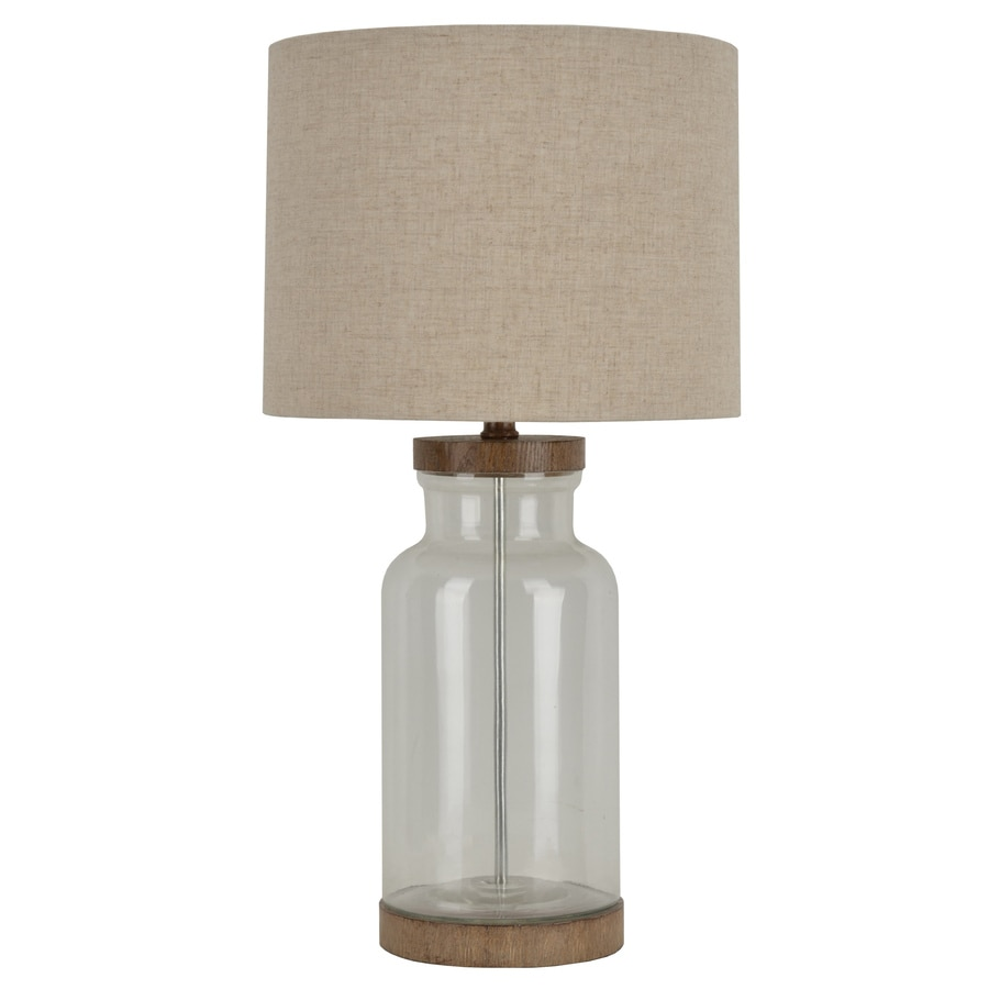 allen + roth Edensley 25.25-in Glass with saddle Plug-In Table Lamp with Fabric Shade
