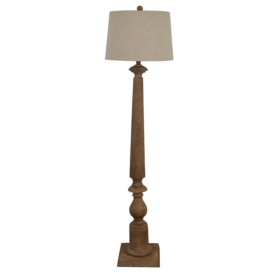 allen + roth Edensley 58-in Saddle Casual/Transitional Shaded Floor Lamp Indoor Floor Lamp with Fabric Shade