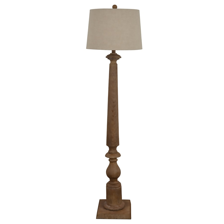 shop allen roth edensley 58 in saddle 3 way floor lamp with fabric