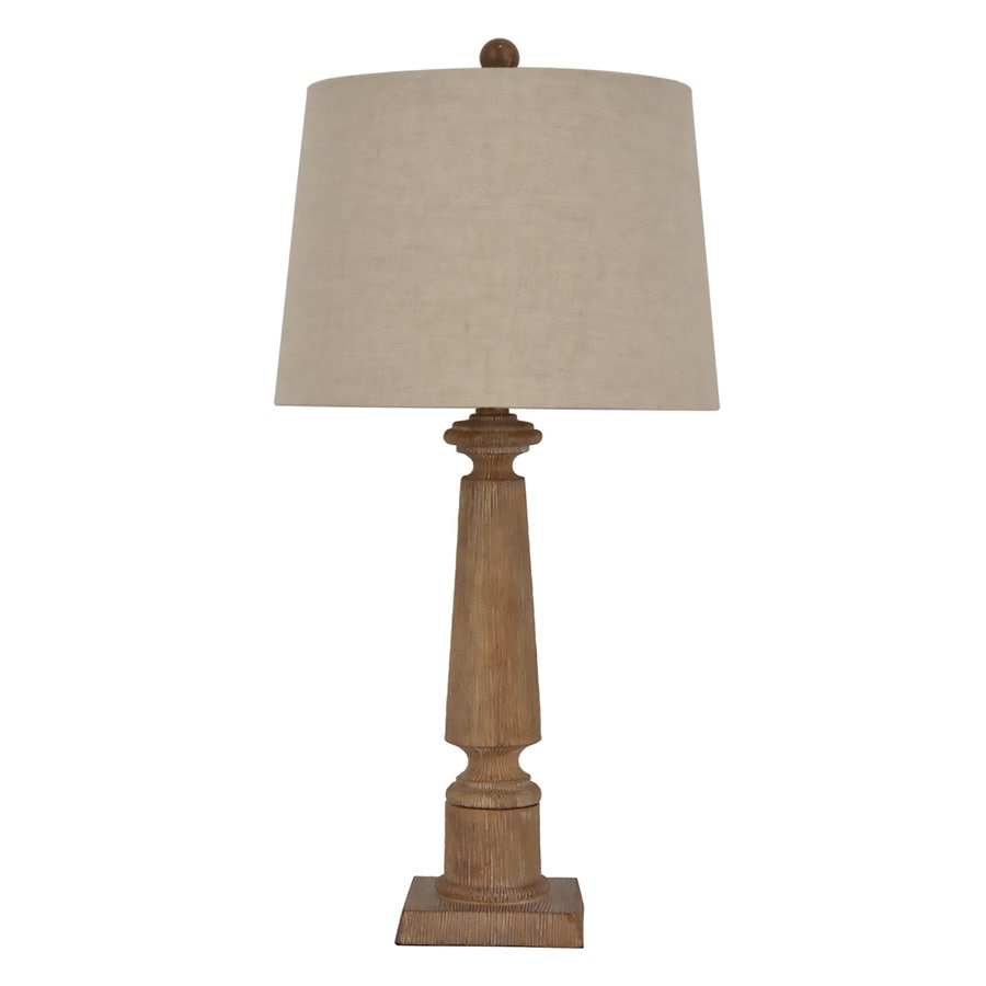 allen + roth Edensley 28-in Saddle Standard Table Lamp with Fabric Shade