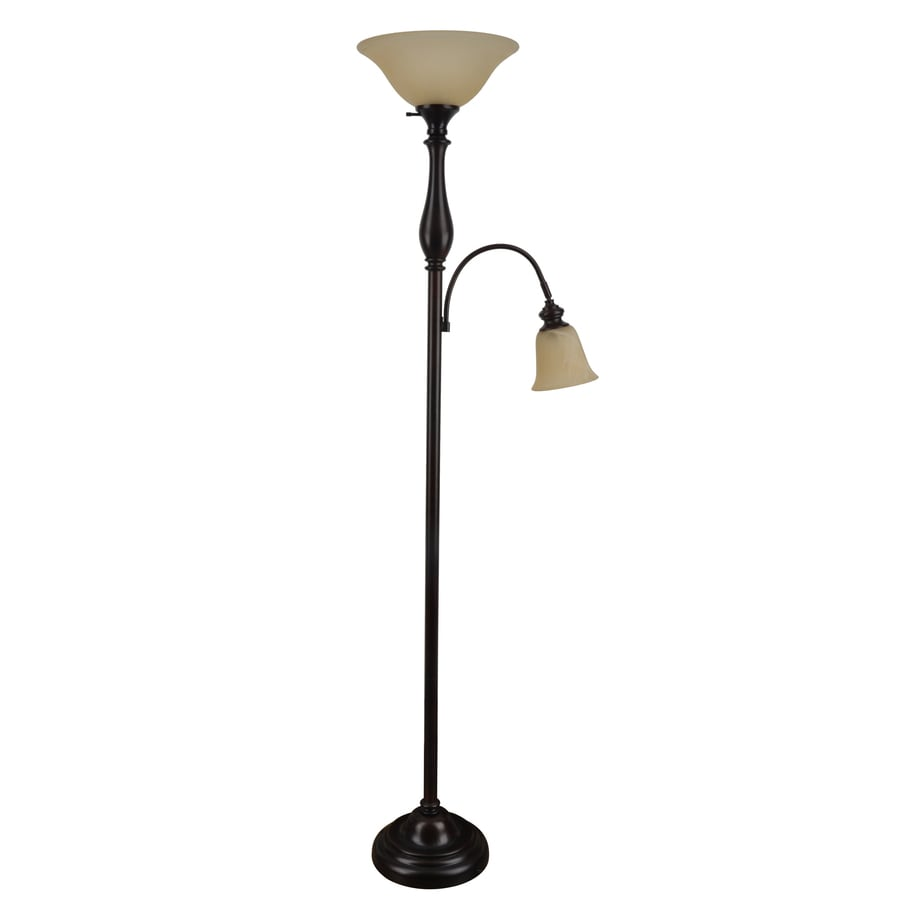 rubbed bronze torchiere with reading light floor lamp with glass shade. Black Bedroom Furniture Sets. Home Design Ideas