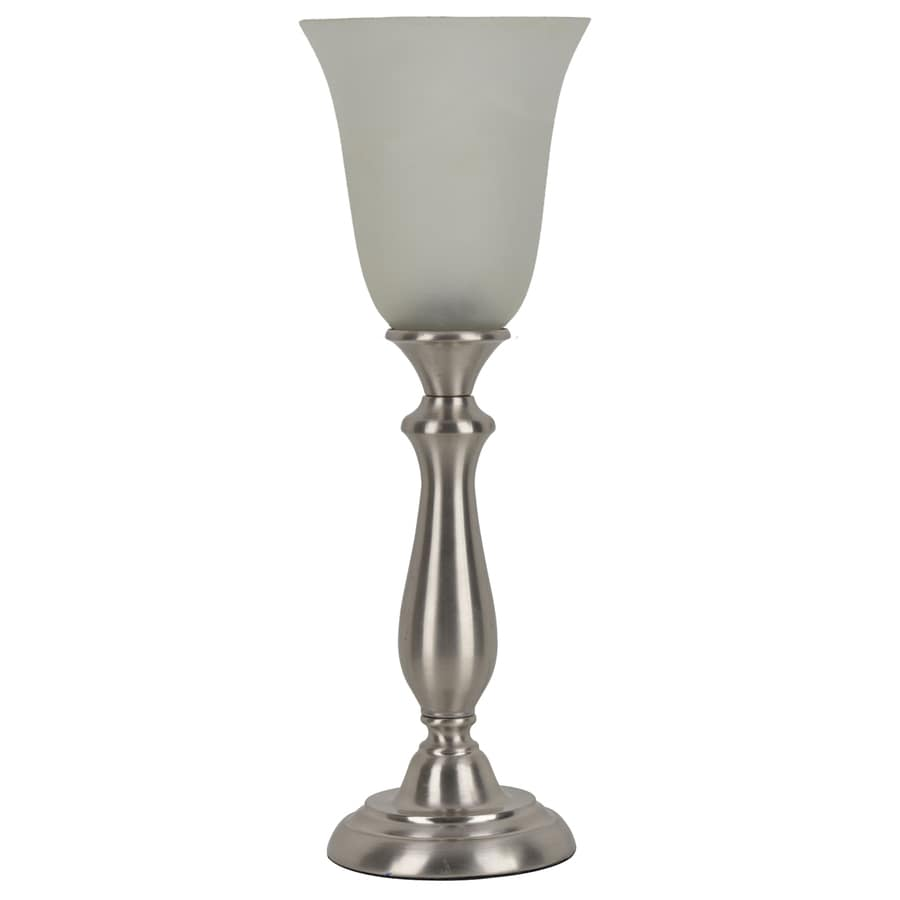 J. Hunt Home Woodbine 18.75-in Brushed Nickel  Electrical Outlet  Uplight Table Lamp with Glass Shade