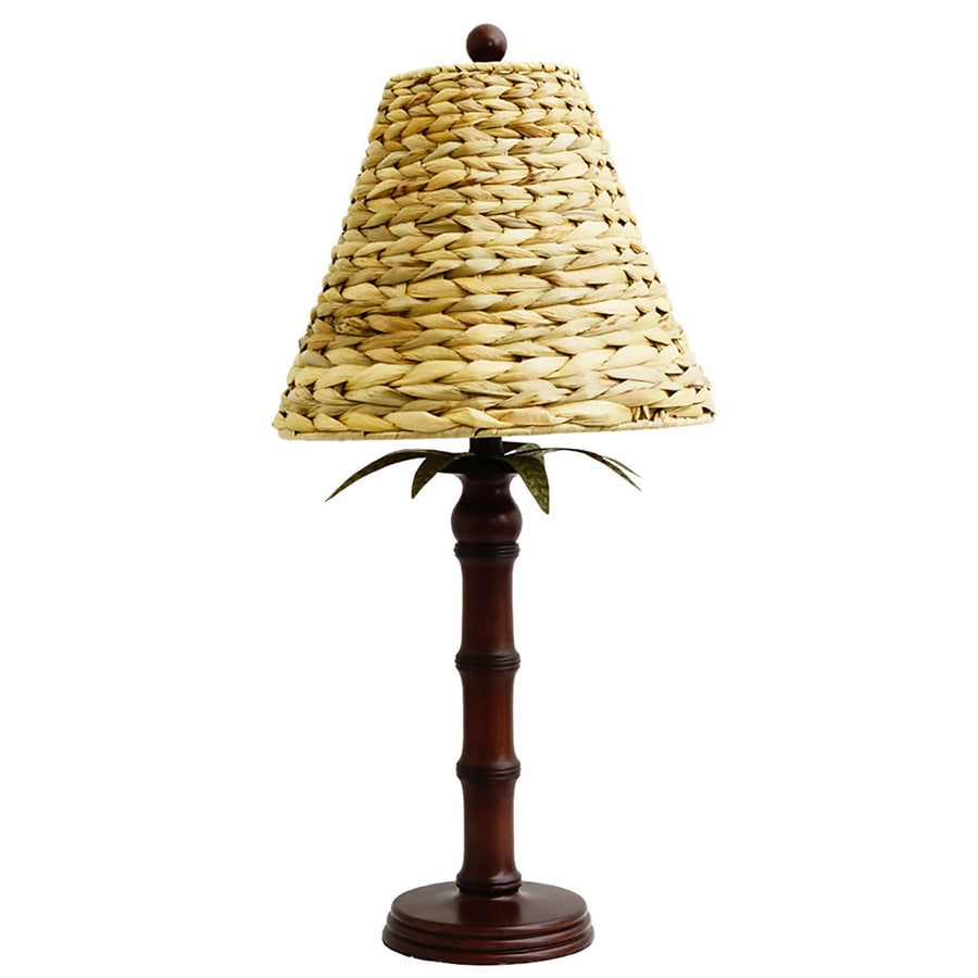 28-in Brown Standard Table Lamp with Seagrass Shade