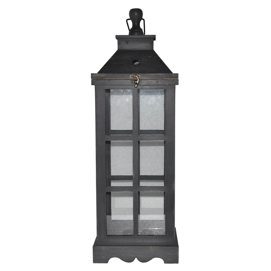 allen + roth 1 Candle Black Wood Lantern Candle Holder