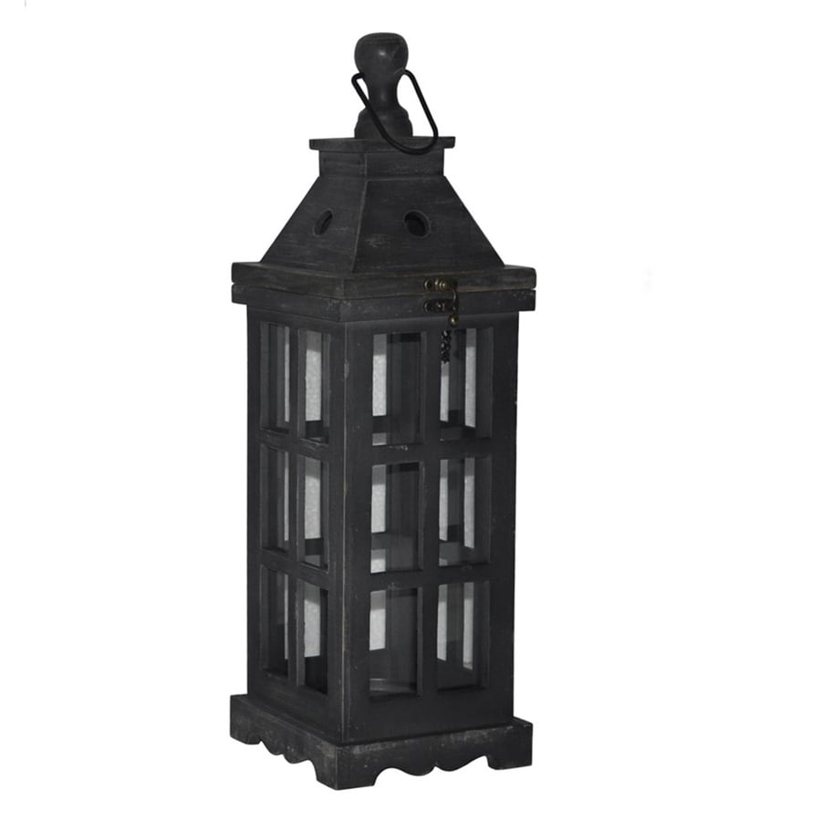 shop allen roth 1 candle black wood lantern candle With kitchen cabinets lowes with wooden lantern candle holder