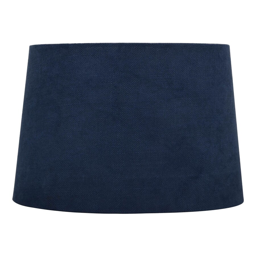 Shop allen + roth 10-in x 15-in Blue Fabric Drum Lamp Shade at ...