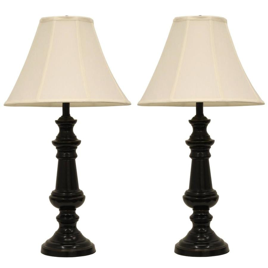 Decor Therapy Bronze Standard Table Lamp with Fabric Shade (Set Of 2)