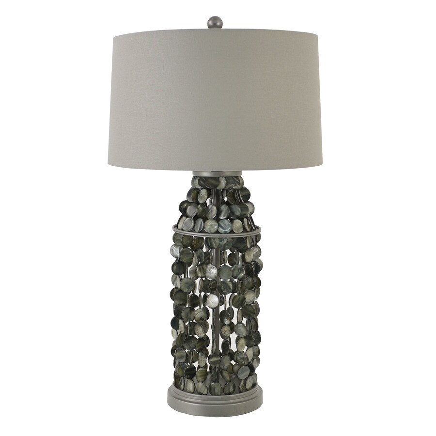 Decor Therapy 21-in 3-Way Switch Silver Mercury Glass Indoor Table Lamp with Fabric Shade
