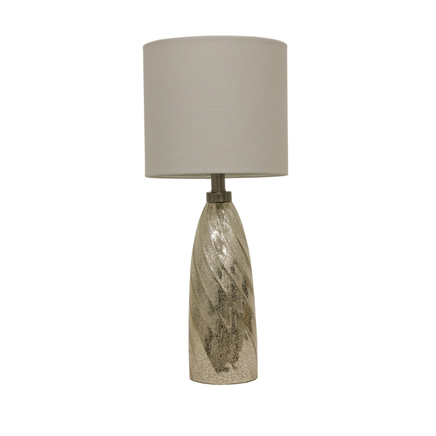 Decor Therapy 24-in Silver Mercury Glass Indoor Table Lamp with Fabric Shade