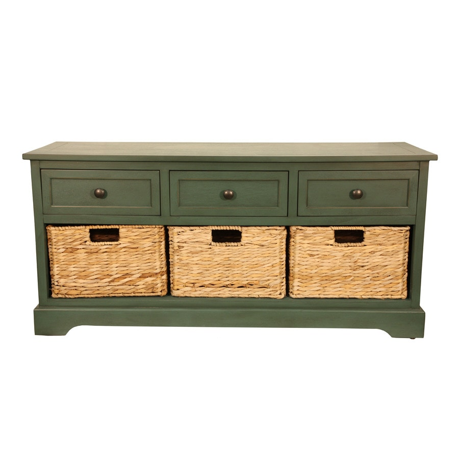 Decor Therapy Casual Antique Teal Storage Bench