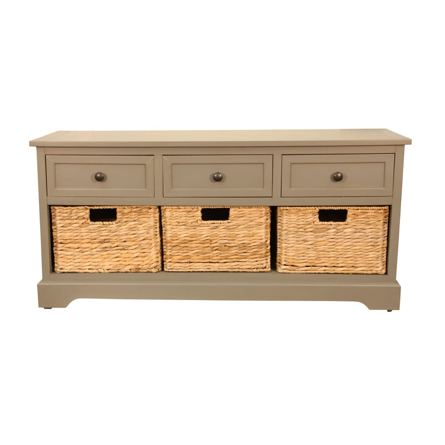 Decor Therapy Casual Antique Grey Storage Bench