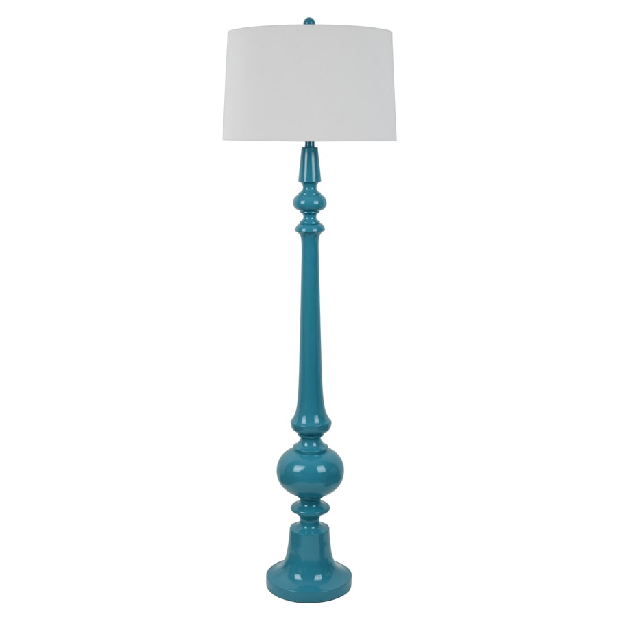 Decor Therapy 63-in Blue 3-Way Floor Lamp with Fabric Shade