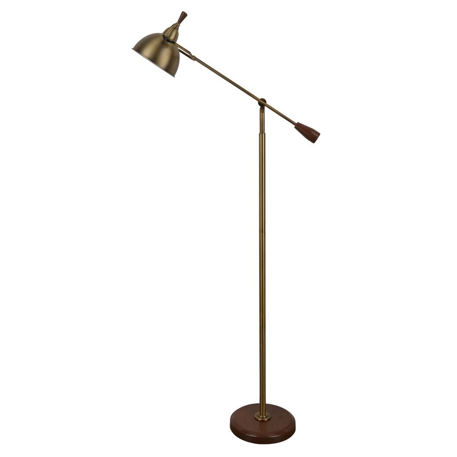 Decor Therapy 65-in Brass and Oak Downbridge Floor Lamp with Metal Shade