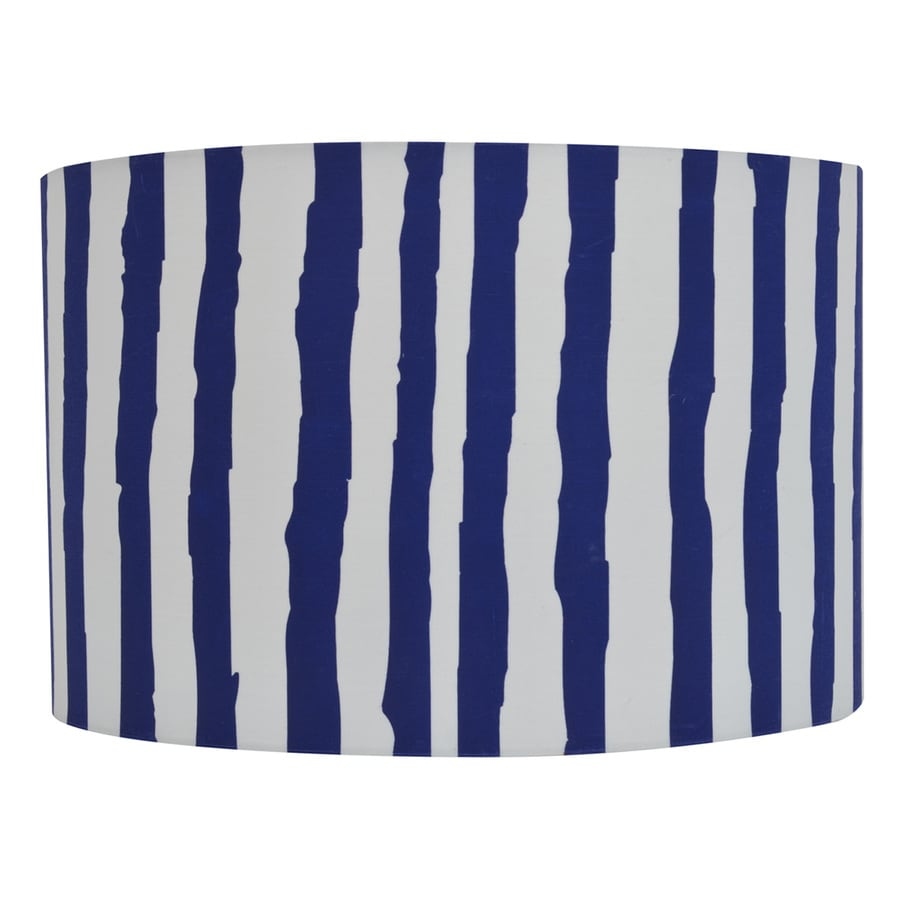 Decor Therapy 9-in x 14-in Blue and White Fabric Drum Lamp Shade