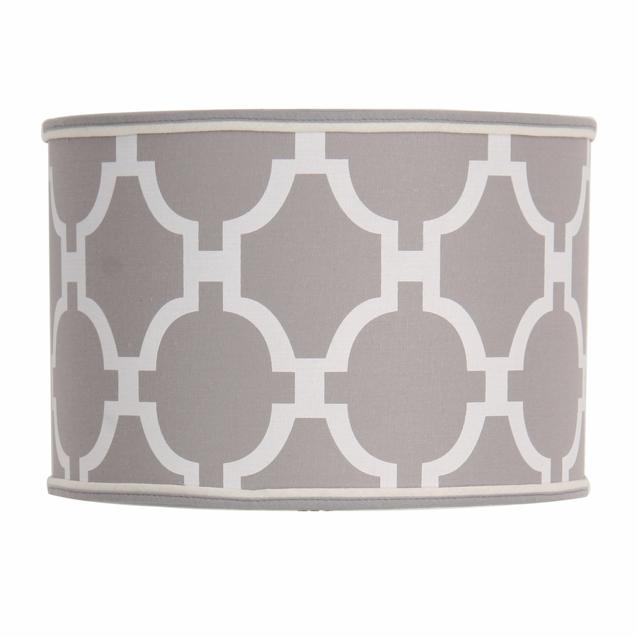Decor Therapy 9-in x 13-in Gray Fabric Drum Lamp Shade