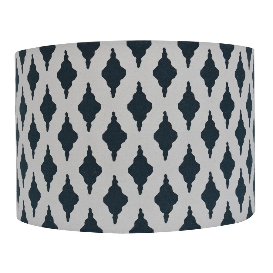 Decor Therapy 10-in x 15-in Blue Fabric Drum Lamp Shade