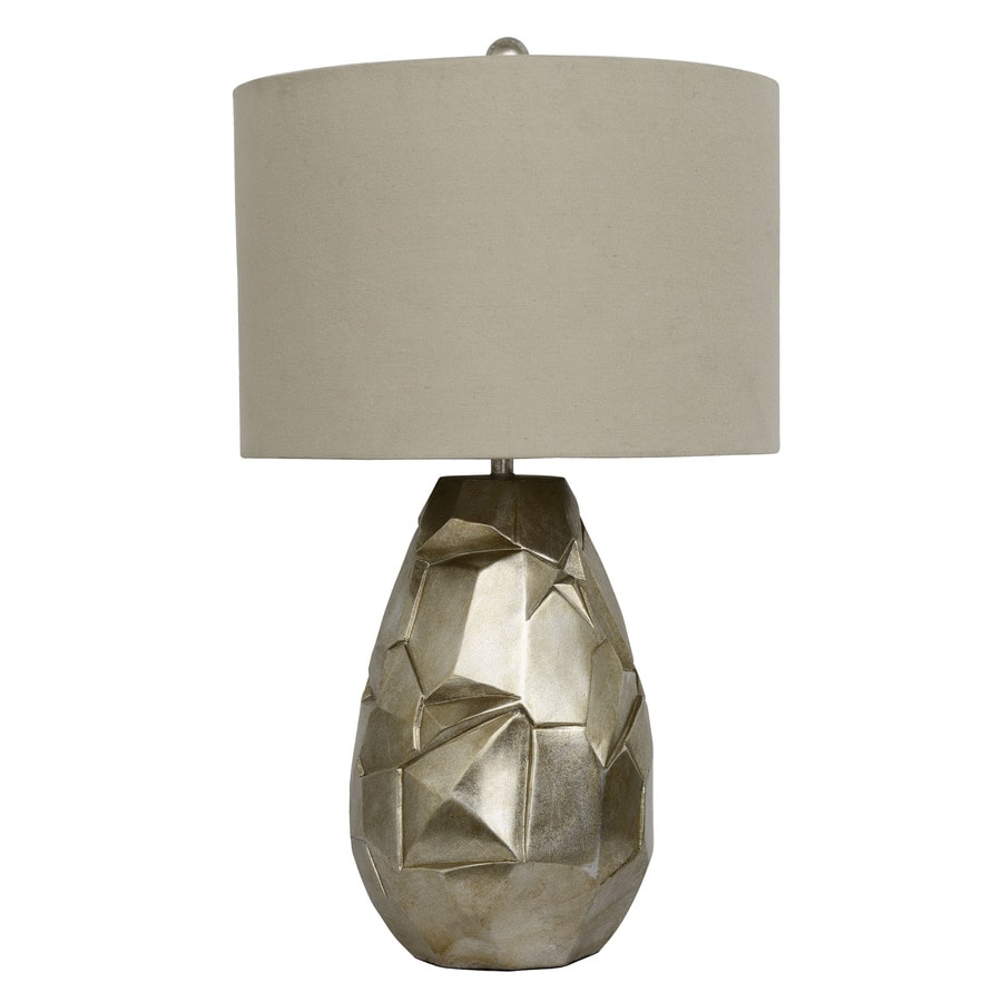 Decor Therapy 26-in Silver Indoor Table Lamp with Fabric Shade