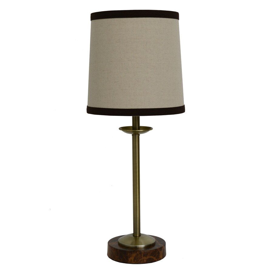 Decor Therapy 20-in Black Marble Indoor Table Lamp with Fabric Shade