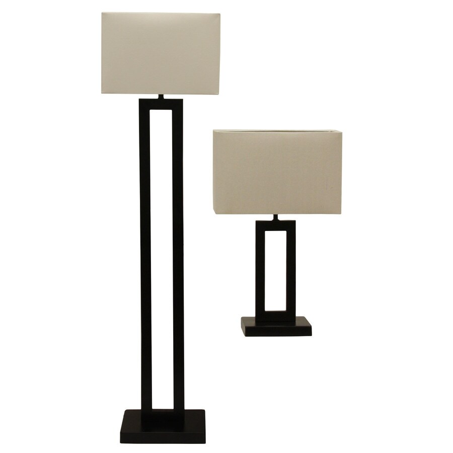 Decor Therapy 2-Piece Bronze Lamp Set with Fabric Shades