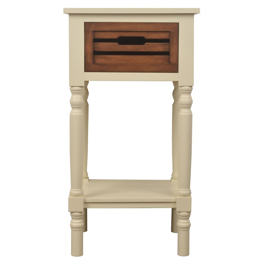 Decor Therapy White Honeynut Oak End Table