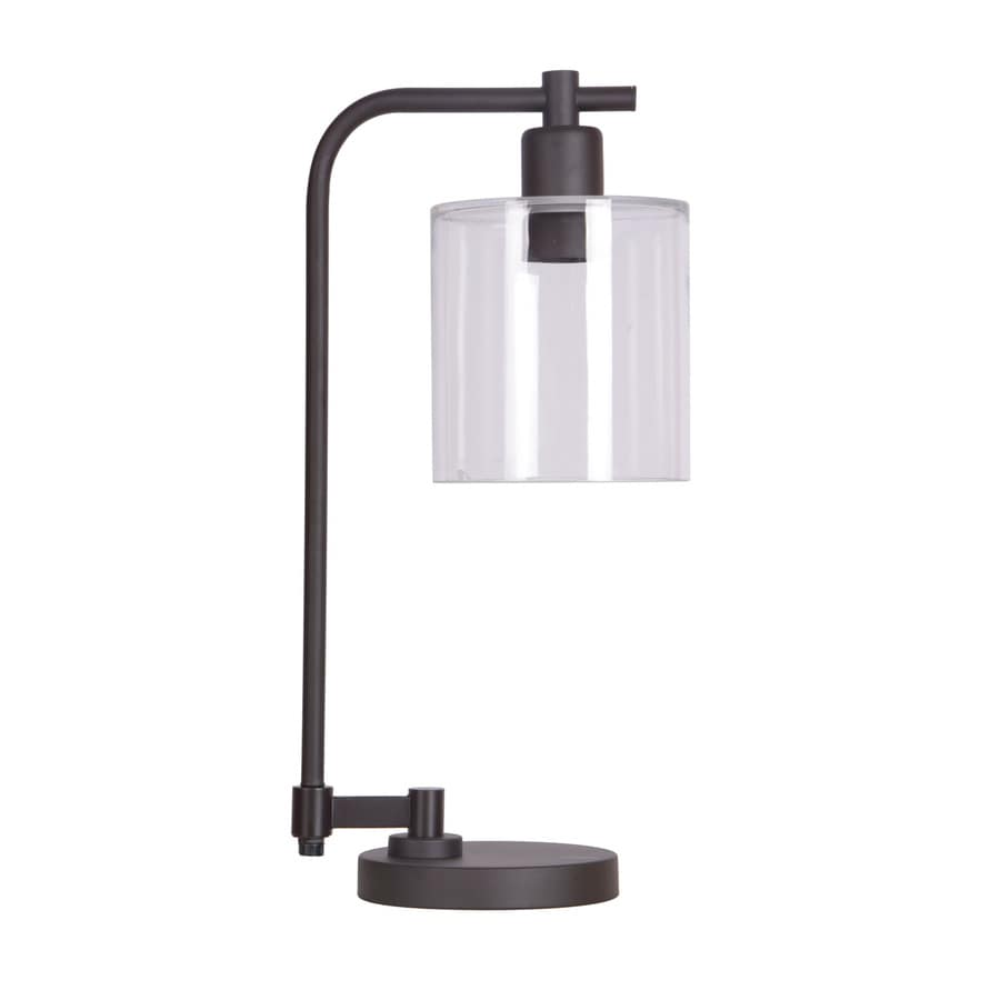 Charmant Allen + Roth Tapsley 20.5 In Bronze Downbridge Table Lamp With Glass Shade