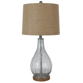 Decor Therapy Emma 27.5-in Clear Glass and Jute Table Lamp with Burlap Shade