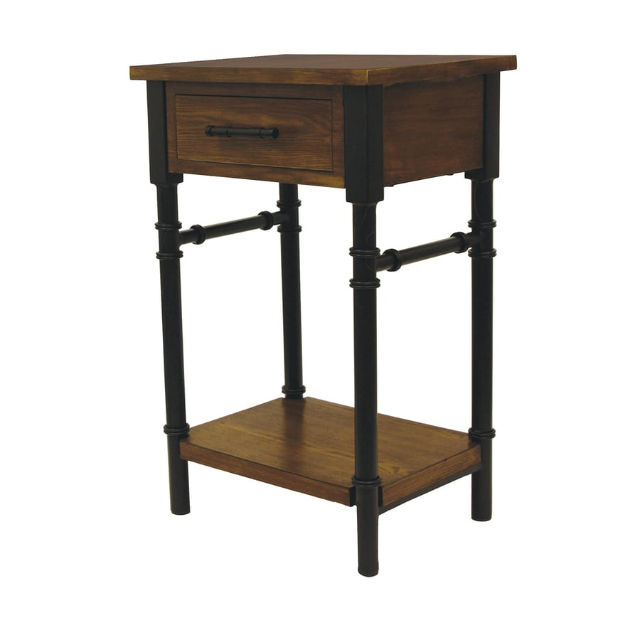 Walnut Composite Industrial End Table At Lowes Com
