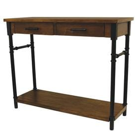 Walnut Wood Veneer Industrial Console Table