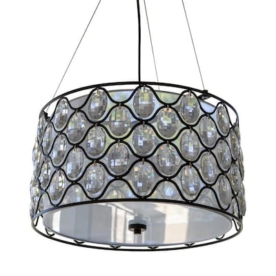 Decor Therapy Claire Crystal And Steel Framework 3 Light