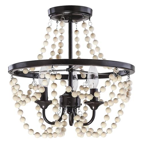 Decor Therapy 16 In Bronze Wood Farmhouse Semi Flush Mount Light In The Flush Mount Lighting Department At Lowes Com