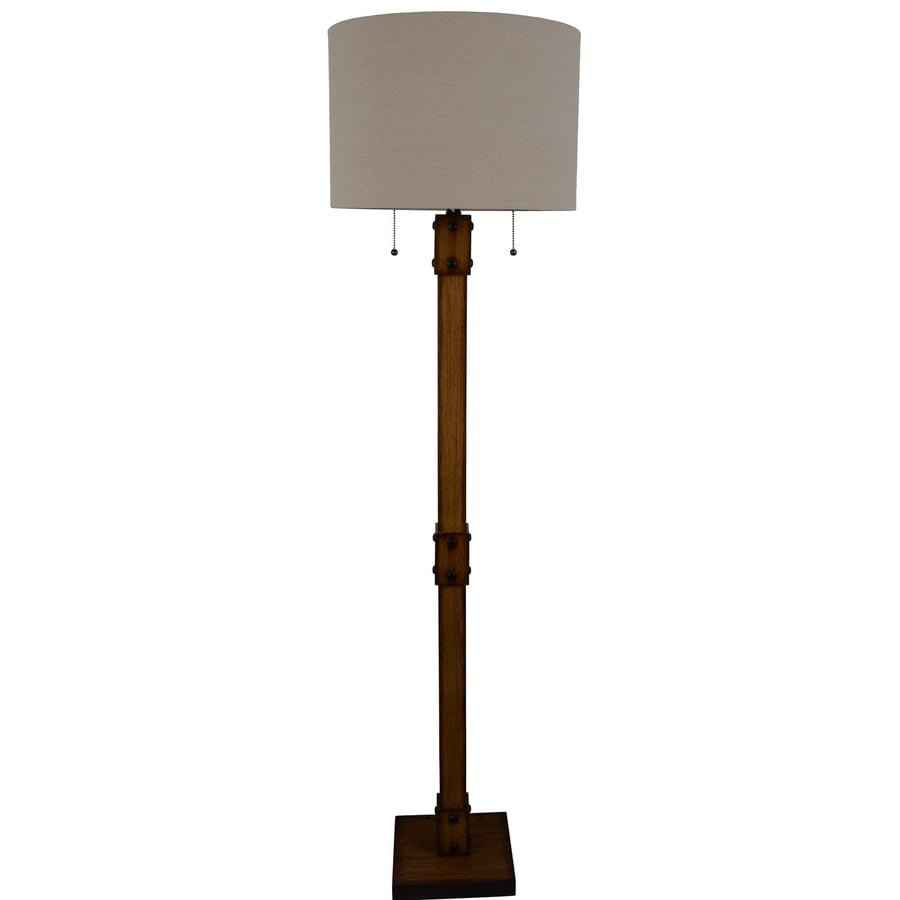 Allen Roth 61 In Faux Wood Shaded Floor Lamp In The Floor Lamps Department At Lowes Com