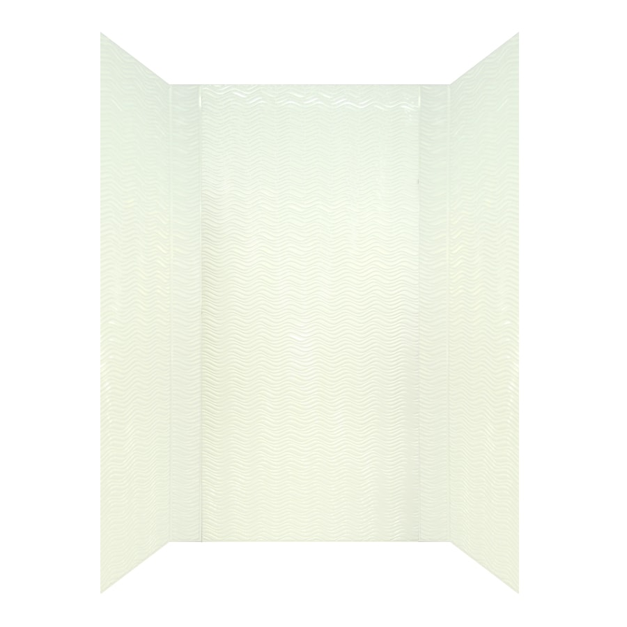 MirroFlex Wavation White Fiberglass and Plastic Composite Bathtub Wall Surround (Common: 40-in x 60-in; Actual: 96-in x 40-in x 60-in)