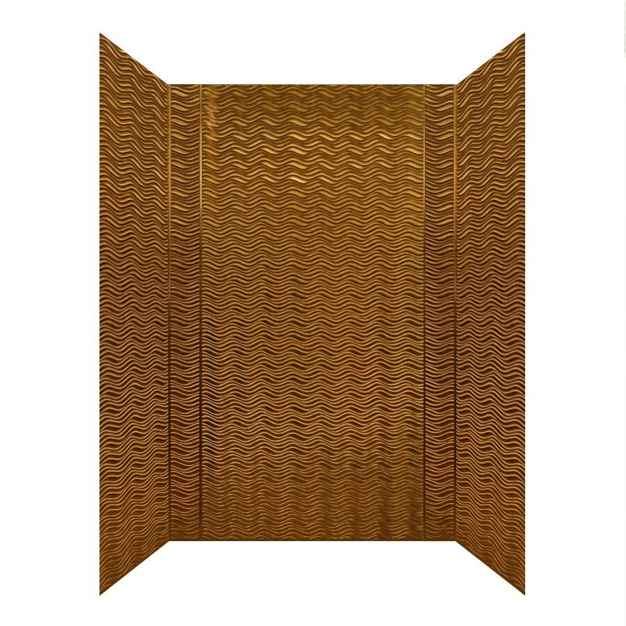 MirroFlex Wavation Antique Bronze Fiberglass and Plastic Composite Bathtub Wall Surround (Common: 40-in x 60-in; Actual: 96-in x 40-in x 60-in)