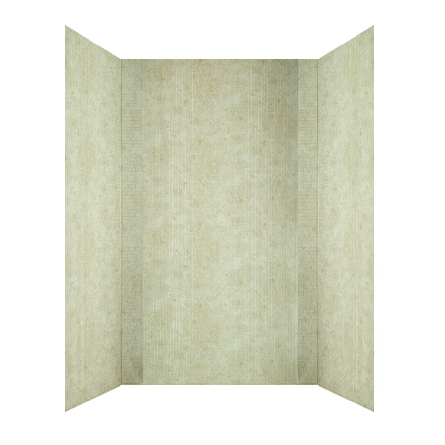 MirroFlex Crossroads Travertine Fiberglass/Plastic Composite Bathtub Wall Surround (Common: 40-in x 60-in; Actual: 96-in x 42-in x 60-in)