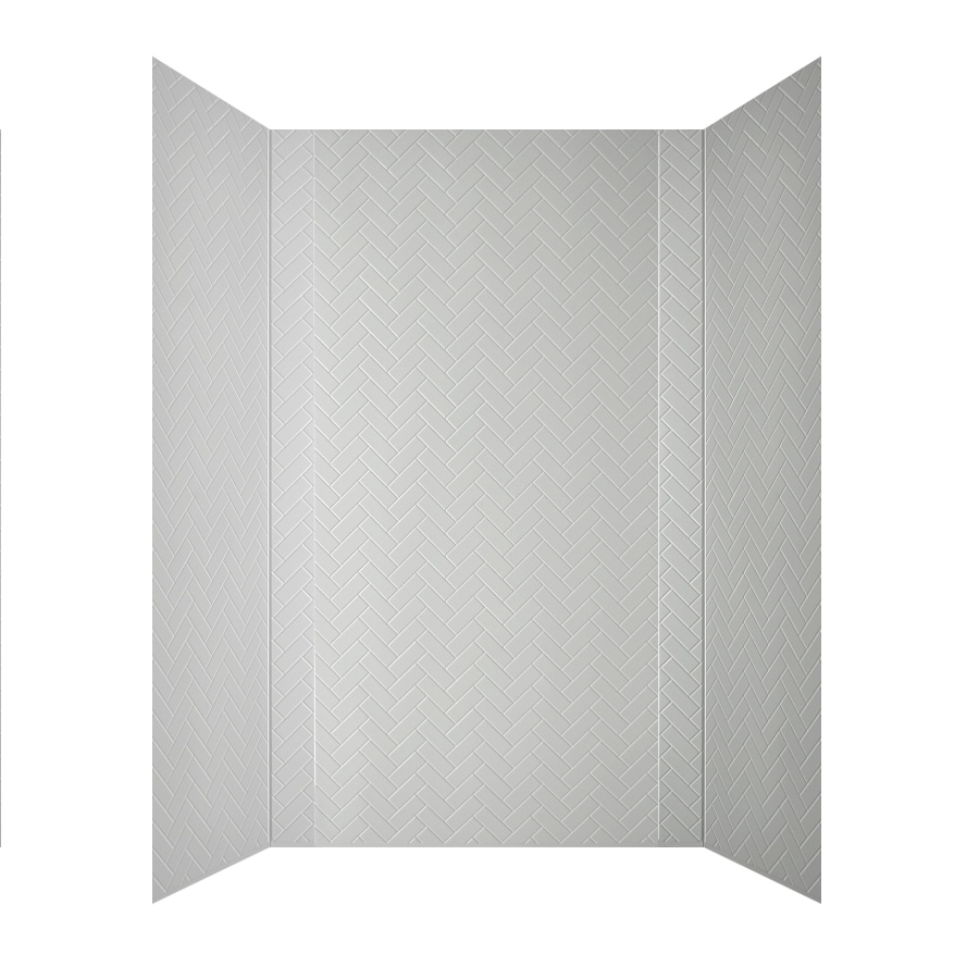 MirroFlex Herringbone White Fiberglass/Plastic Composite Bathtub Wall Surround (Common: 40-in x 60-in; Actual: 96-in x 42-in x 60-in)